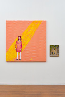 installation view; Jenny Watson Sunshine of your love, 2020; Acrylic on French cotton and tapestry template; 140 x 137cm; 39 x 31cm; enquire