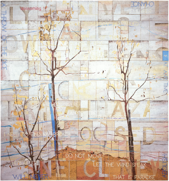 Imants Tillers Blossoming 17, 2008; acrylic, gouache on 94 canvasboards, no. 83021 - 83114; 229 x 214 cm; enquire