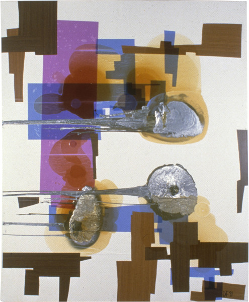 Dale Frank The Occasional Kitchen and The Editor (Deception, Deception The Longing For The Recession), 1991; aluminium paint, resin and printed adhesive vinyl (Contact) on linen; 240 x 200 cm; enquire