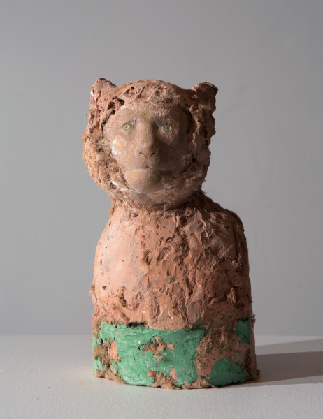 Linda Marrinon Rhesus Monkey, 2016; tinted and painted plaster; 25 x 15 x 11 cm; enquire