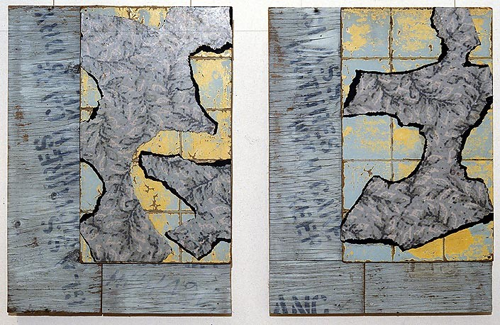 Rosalie Gascoigne Pursuit 1 and Pursuit 2, 1992; linoleum, masonite and plywood; 61 x 44.5cm (each); enquire