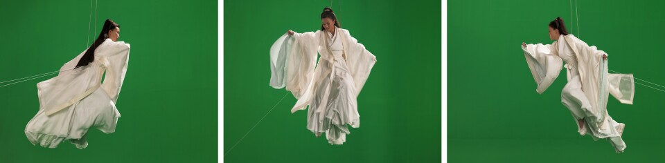 Isaac Julien Green Screen Goddess Triptych (Ten Thousand Waves), 2010; Endura Ultra photograph; 3 parts: 180 x 240 each (overall dimensions approx. 180 x 720 cm); Edition of 6 + AP 1; enquire