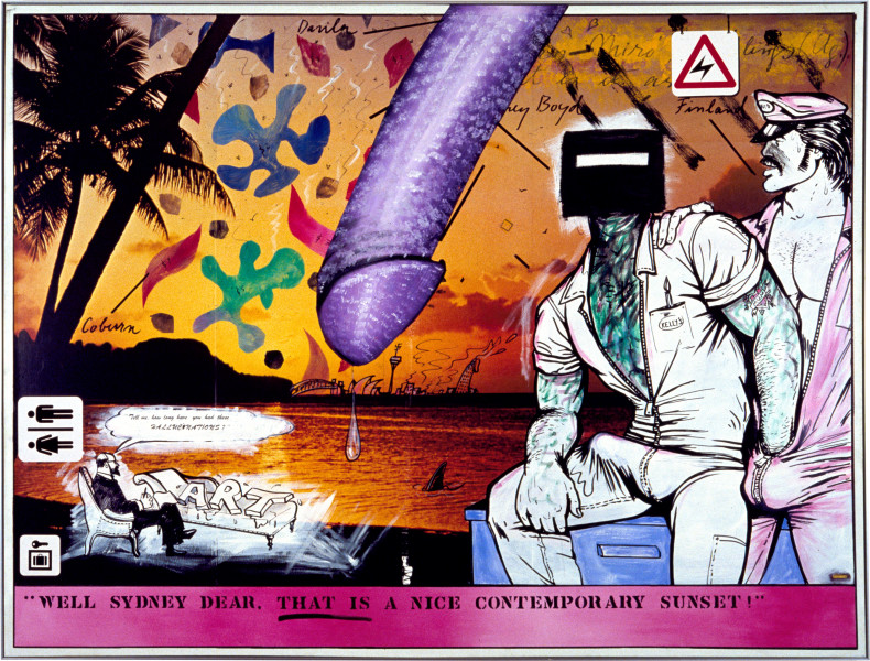 Juan Davila Is It Art?, 1982; acrylic and collage on photographic mural; 200 x 263 cm; enquire
