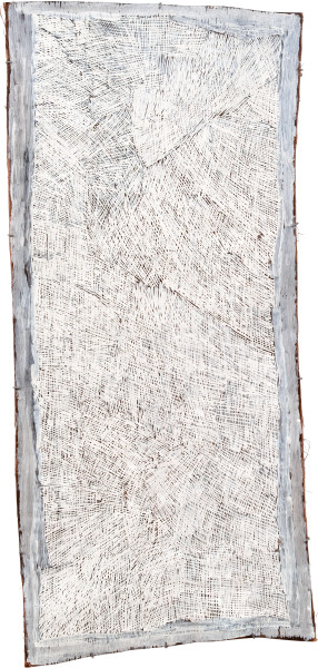 Nyapanyapa Yunupingu 19. White Painting #6, 2009; 3588A; Natural earth pigments on bark; 168 x 75 cm; enquire