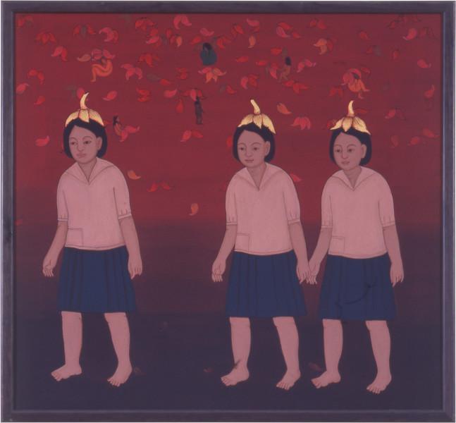 Phaptawan Suwannakudt Nariphon III b, 1996; acrylic on silk; 2 panels, 90 x 90 cm; enquire