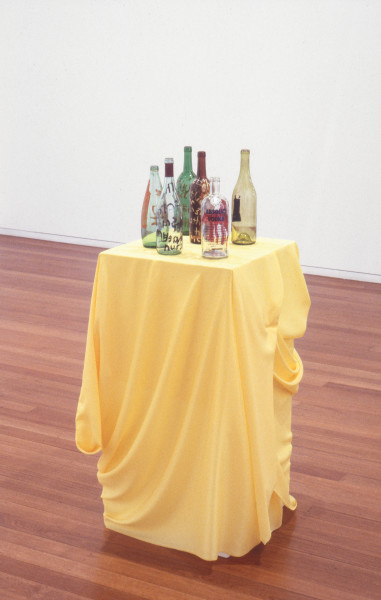 Jenny Watson Bottles, 1992; group of six assorted painted bottles; dimensions variable; enquire