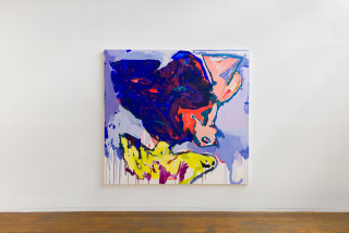 installation view; Tom Polo watch and wait (angel ears), 2020; acrylic and Flashe on canvas; 198 x 213 cm; enquire