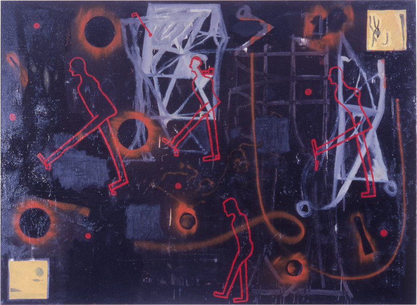 Gareth Sansom Four Wise Men Looking for God in Abstract Art I, 1987-88; oil and enamel on linen; 167.6 x 228.6 cm; enquire