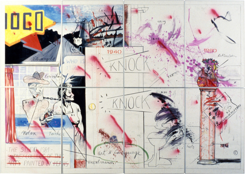 Juan Davila The Studio, 1985; gouache; 244 x 344 cm; enquire