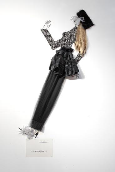 Jacqueline Fraser   , 2004; Nylon hair, faux fur, Italian wool suiting, vylene stiffening, French sequin chiffon, black tule, white looped braid; 170 x 85 x 15 cm; enquire