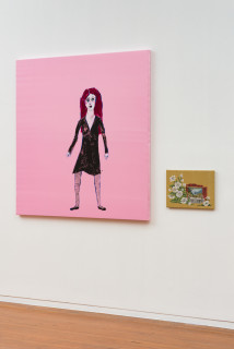 installation view; Jenny Watson Pink poppy 60's girl, 2020; Acrylic on French satin and tapestry template; 139 x 137cm; 30 x 42cm; enquire