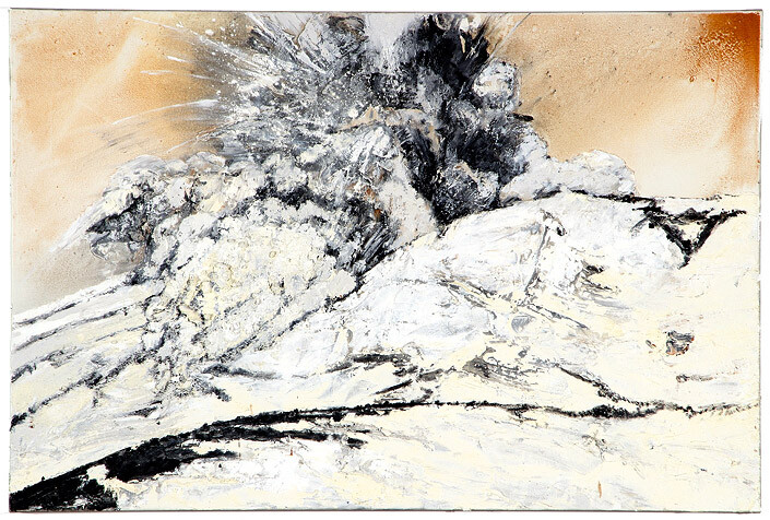 Mandy Martin Wanderers in the desert of the real; Mount Ruapehu erupting, 2008; Ochre, pigment, and oil on linen; 100 x 150 cm; enquire