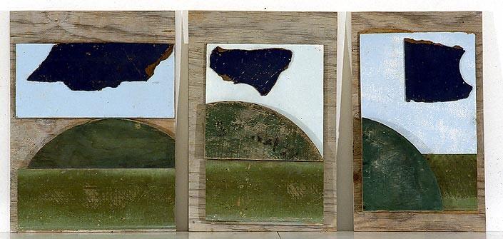 Rosalie Gascoigne Wind and Weather, 1994; sawn wood and masonite on board; 3 panels: 54.5 x 37cm, 54.5 x 32cm, 54 x 40.5cm; enquire