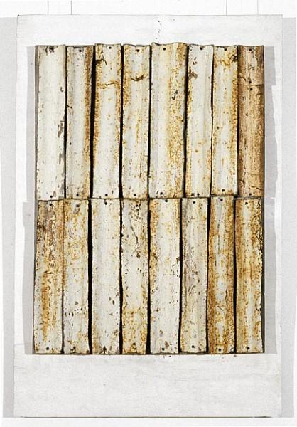 Rosalie Gascoigne Iron Bark, 1994-95; corrugated iron on wood; 102 x 75 cm; enquire