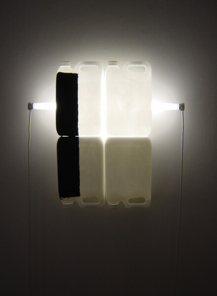 Bill Culbert Black on White V, 2004; fluorescent lights, electrical cords, plastic bottles, acrylic paint; 58 x 62 x 13 cm; enquire