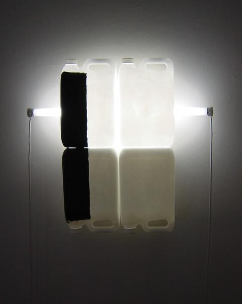 Bill Culbert Black on White V, 2004; fluorescent lights, electrical cords, plastic bottles, acrylic paint; 58 x 62 x 13 cm; enquire