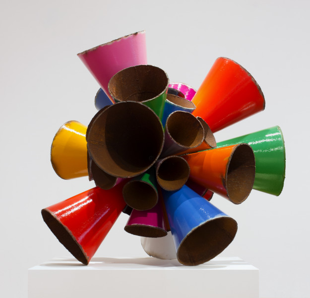 James Angus Polychrome Pipe Burst, 2015; Unique from series of 2: grayscale / polychrome (large version); steel, enamel paint; 145 x 145 x 145 cm; 300kg; enquire