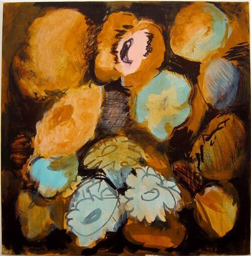 Tony Clark Flowerpiece with Pansy, 2003; acrylic on canvas; 51 x 51 cm; enquire