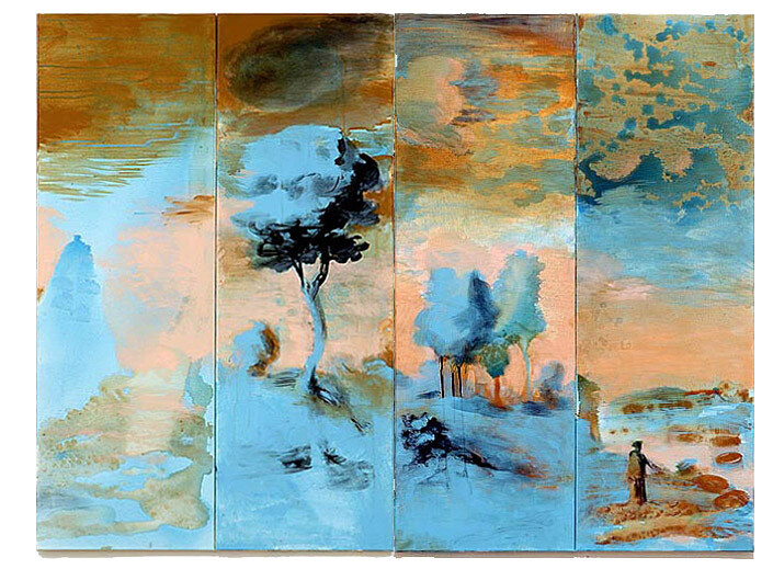 Tony Clark Landscape with St Hilda and Ammonites & Landscape for a Mammoth, 2006; acrylic and permanent ink on canvas board; 4 panels, overall dimensions 120 x 160cm; enquire