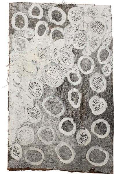 Nyapanyapa Yunupingu Maypal, 2015; 4888K; Bark painting; 122 x 74 cm; enquire