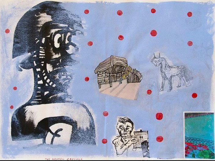 Gareth Sansom The Hoxton Creeper (Rondo Hatton), 2003; Ink, acrylic and collage on paper; 69 x 86 cm; Paper size: 56 x 75; enquire