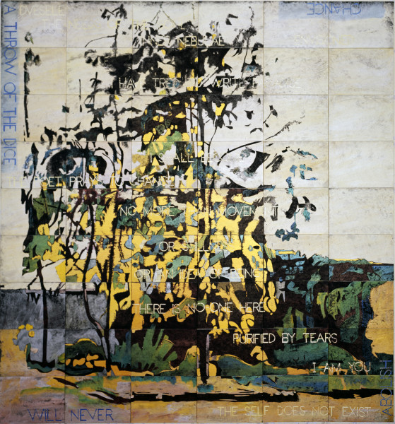 Imants Tillers Trees in the Studio Garden, 2012; acrylic, gouache on 54 canvas boards nos. 91050-91103; 226.5 x 212 cm; enquire
