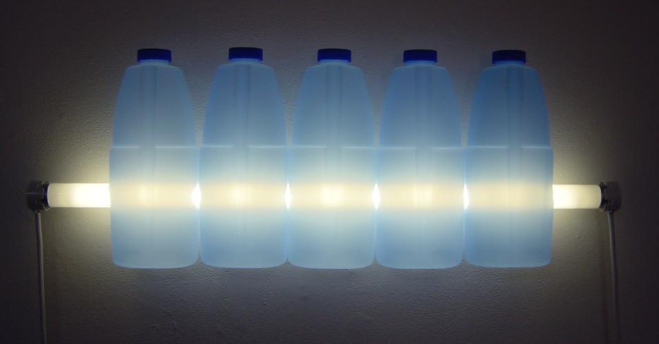 Bill Culbert Clorox, 2004; fluorescent lights, electrical cords, plastic bottles; 22 x 61 x 7 cm; enquire