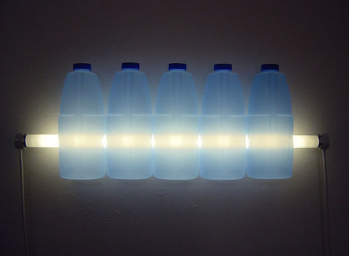 Bill Culbert Clorox, 2004; fluorescent lights, electrical cords, plastic bottles; 22 x 61 x 7 cm; enquire