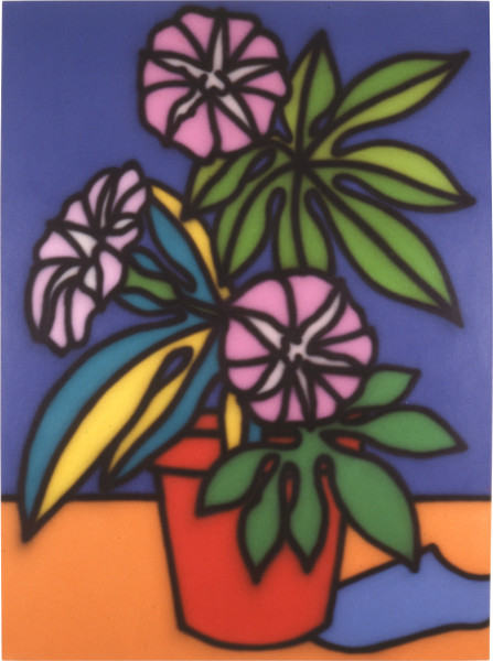 Howard Arkley Still Life-Petunias, 1987; acrylic paint on canvas; 160 x 122 cm; enquire