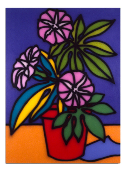 Howard Arkley Still Life-Petunias, 1987; acrylic paint on canvas; 160 x 122 cm; enquire
