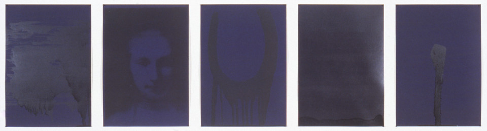 Lindy Lee Cloud of Unknowing, 1993; photocopy and acrylic on Stonehenge paper; 41.5 x 163 cm; 5 panels; enquire