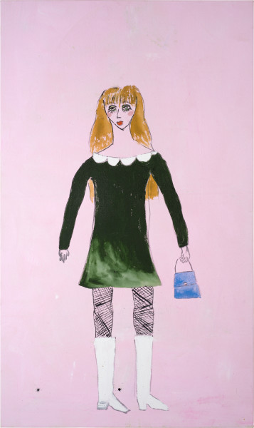 Jenny Watson 60's dolly bird, 2014; Japanese pigment tinted gesso and acrylic on 10gm cotton duck; 160 x 95 cm; enquire