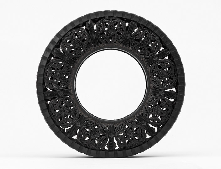 Wim Delvoye Untitled (Car Tyre) 1, 2007; handcarved car tyre; 81.5 x 81.5 x 17 cm; enquire