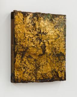 Kirtika Kain The Solar Line XIII, 2020; Tar, screen printing emulsion, gold leaf, rice paper, beeswax, disused silk screen; 40 x 35.5 cm; enquire