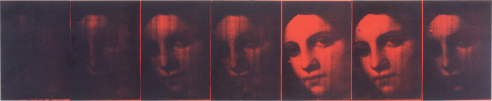 Lindy Lee First Light, 1995; wax, acrylic and photocopy on Stonehenge paper on board; 41 x 200 cm; 7 panels; enquire