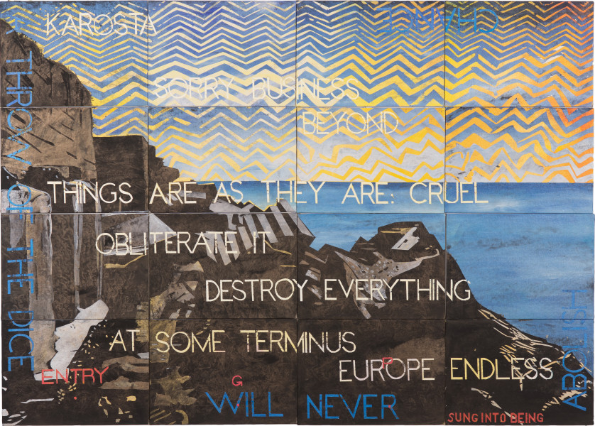 Imants Tillers Nature Speaks: GP, 2019; synthetic polymer paint, gouache on 16 canvasboards, nos. 109123 - 109138; 101 x 141.5 cm; enquire