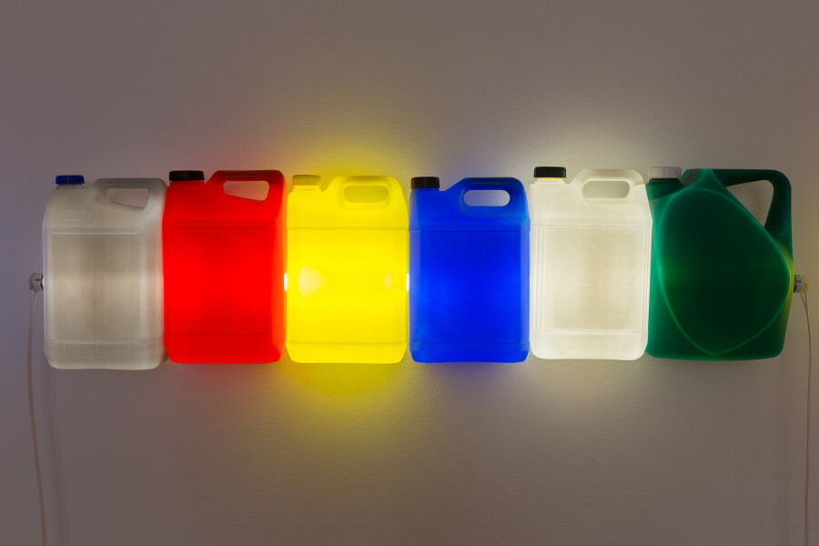Bill Culbert Strait (Grey Red Yellow Blue White Green), 2015; fluorescent light, plastic bottles; 31 x 120 x 12 cm; enquire