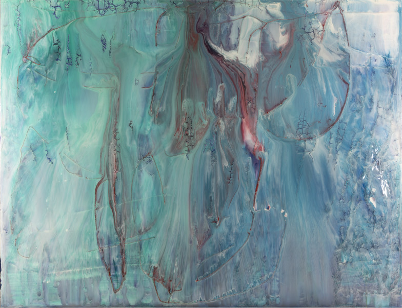 Dale Frank Completely buggered, 2018; varnish, turpentine and Epoxyglass on Perspex; 200 x 260 cm; Enquire