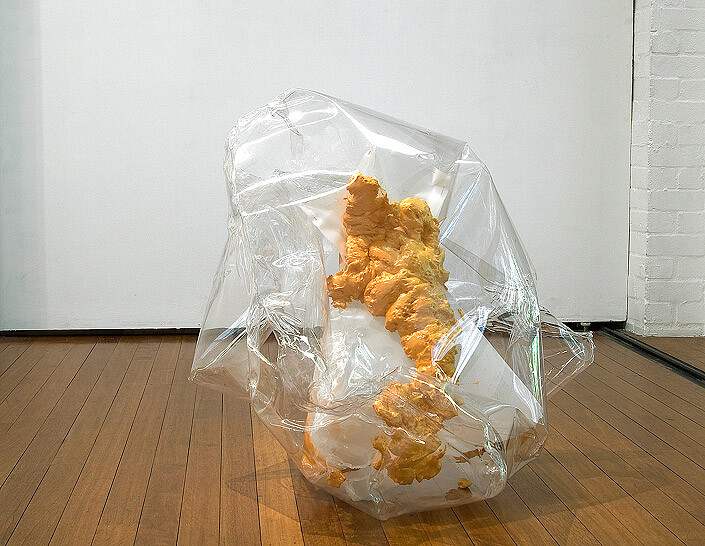 Mikala Dwyer Gap filler pet (hard edge), 2005; plastic, pins and expanding polystyrene; 2 pieces; 86 x 94 x 87cm, 2 x 7 x 13cm; enquire