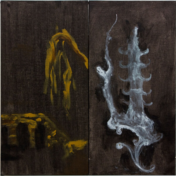 Tony Clark Panels from Chinoiserie Screen, 1988; oil on canvas board; 40.5 x 20.5cm (each panel), 40.5 x 41cm (overall); enquire