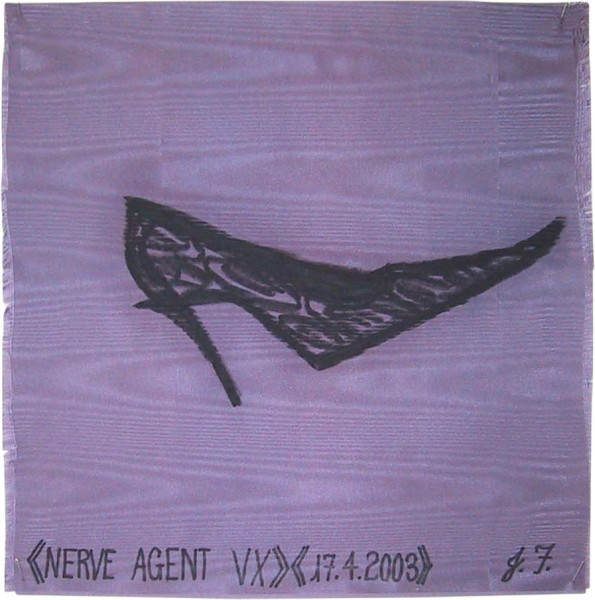 Jacqueline Fraser Nerve Agent VX >, 2003; from the series AN ELEGANT PORTRAIT REFINED IN ELEVEN STUDIOUS PARTS >; oil stick on fabric (framed); 32 x 32 cm; enquire