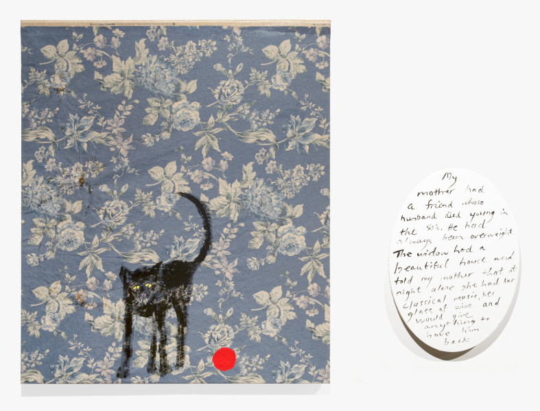 Jenny Watson Old black cat and red rubber ball, 2018; acrylic on rabbit skin glue primed Japanese chintz and acrylic on oval text panel; two parts: 100 x 84cm; 51 x 36cm; Enquire
