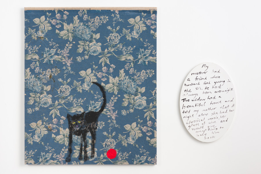 Jenny Watson Old black cat and red rubber ball, 2018; acrylic on rabbit skin glue primed Japanese chintz and acrylic on oval text panel; two parts: 100 x 84 cm; 51 x 36 cm; enquire