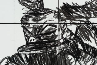 Pierre Mukeba Talking Parrot (detail), 2021; charcoal and pastel on archival paper; 120 x 210 cm; enquire