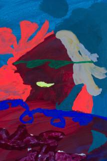 Tom Polo Magic Man (Optical Illusion) (detail), 2020; acrylic and Flashe on canvas; 60 x 50 cm; enquire