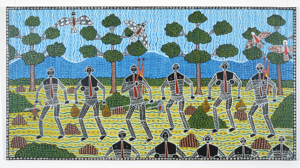 Robert Campbell Jnr Going Walkabout, 1988; acrylic on canvas; 121 x 229 cm; enquire