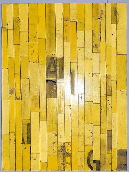 Rosalie Gascoigne Bush Yellow, 1993; retro-reflective road signs; 121.5 x 91.5 cm; enquire
