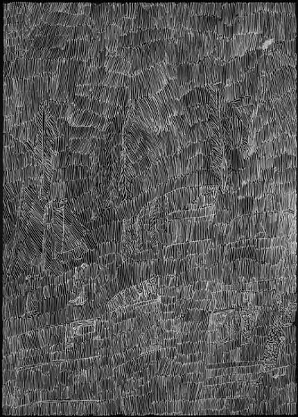 Nyapanyapa Yunupingu Untitled 30, 2012; 4304D; paint pen on clear acetate plastic; 83.5 x 59.5 cm; enquire