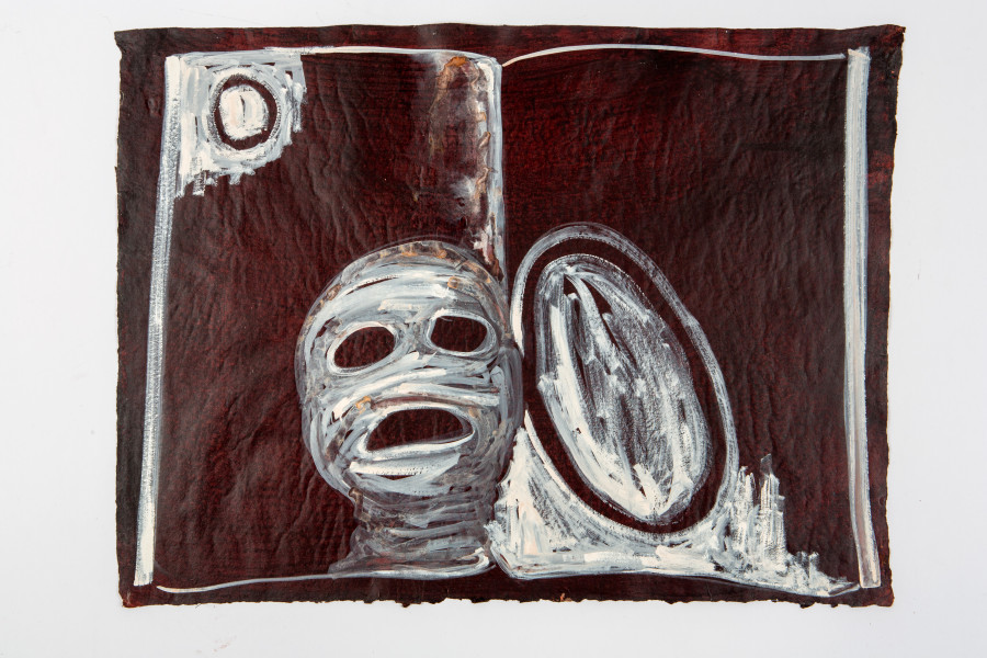 Fiona Hall By the Book, 2015; Cat no. 39; gouache on Khadi paper; 57 x 76 cm; enquire