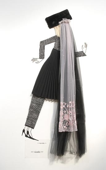 Jacqueline Fraser  , 2004; Nylon hair, faux fur, black tulle, French hand beaded lace, Italian wool suiting, vylene stiffening, pleated polyester; 170 x 100 x 15 cm; enquire